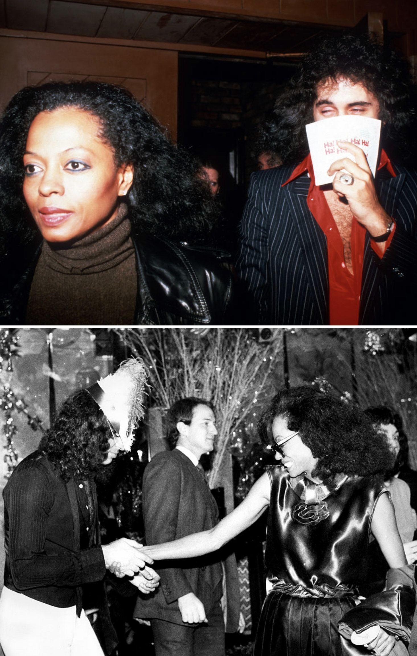 Ross and Simmons at an event in New York City in 1979; Ross and Simmons dancing at Regine's gala in 1981