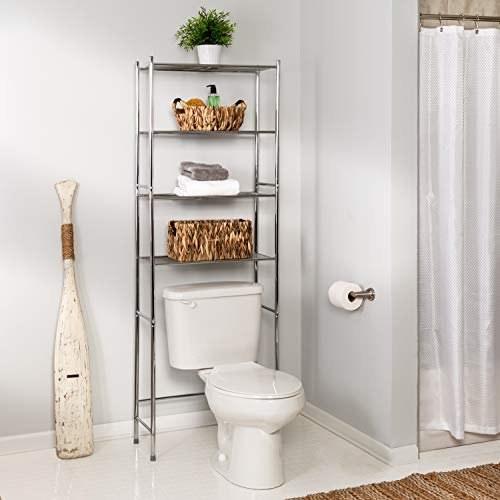 Metal shelf above toilet