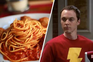 """A plate of spaghetti and meatballs and a close up of Sheldon Cooper from """"The Big Bang Theory"""""""