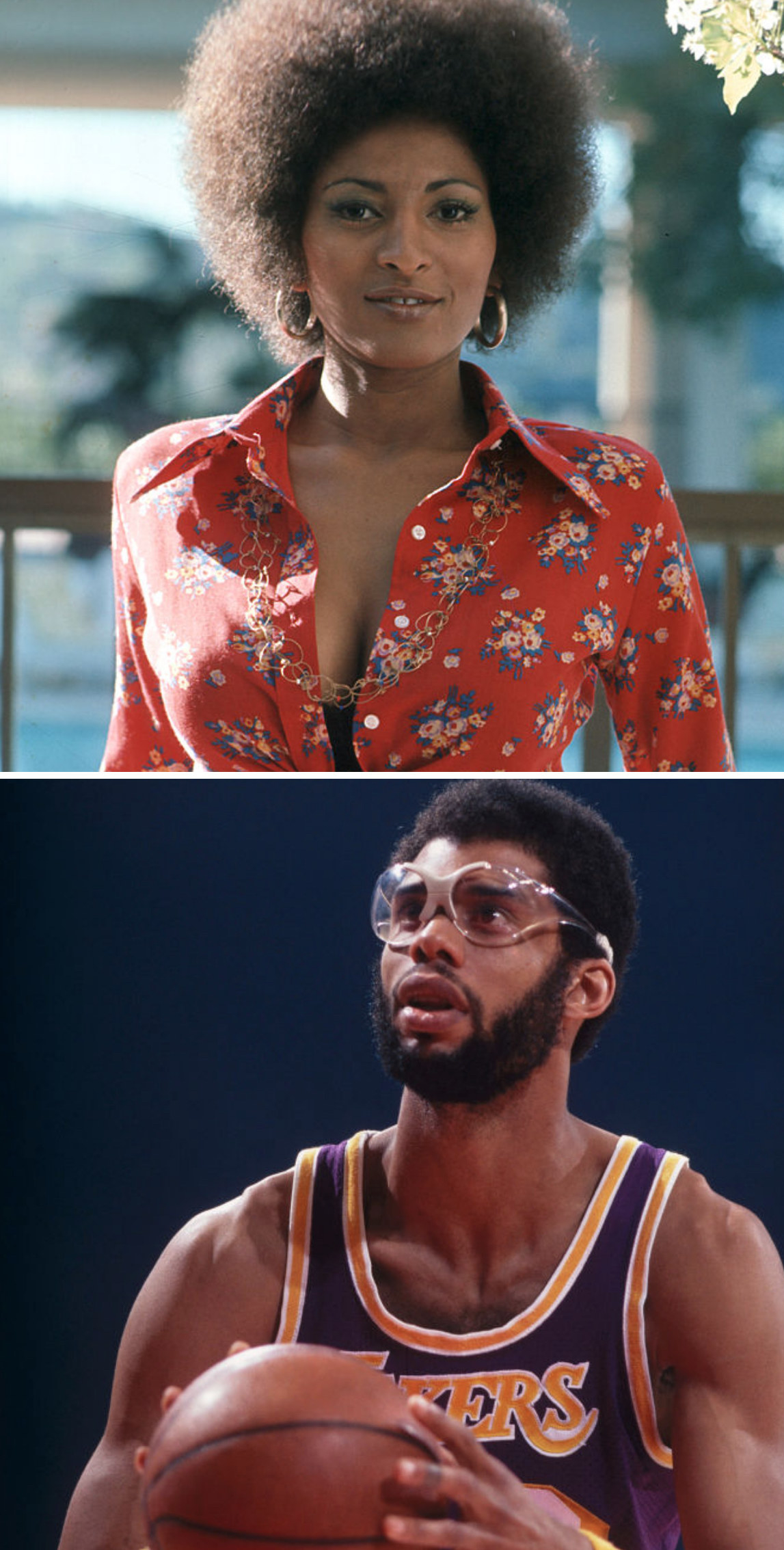 Grier posing for a portrait in LA in 1972; Abdul-Jabbar playing a Lakers game in the mid-'70s