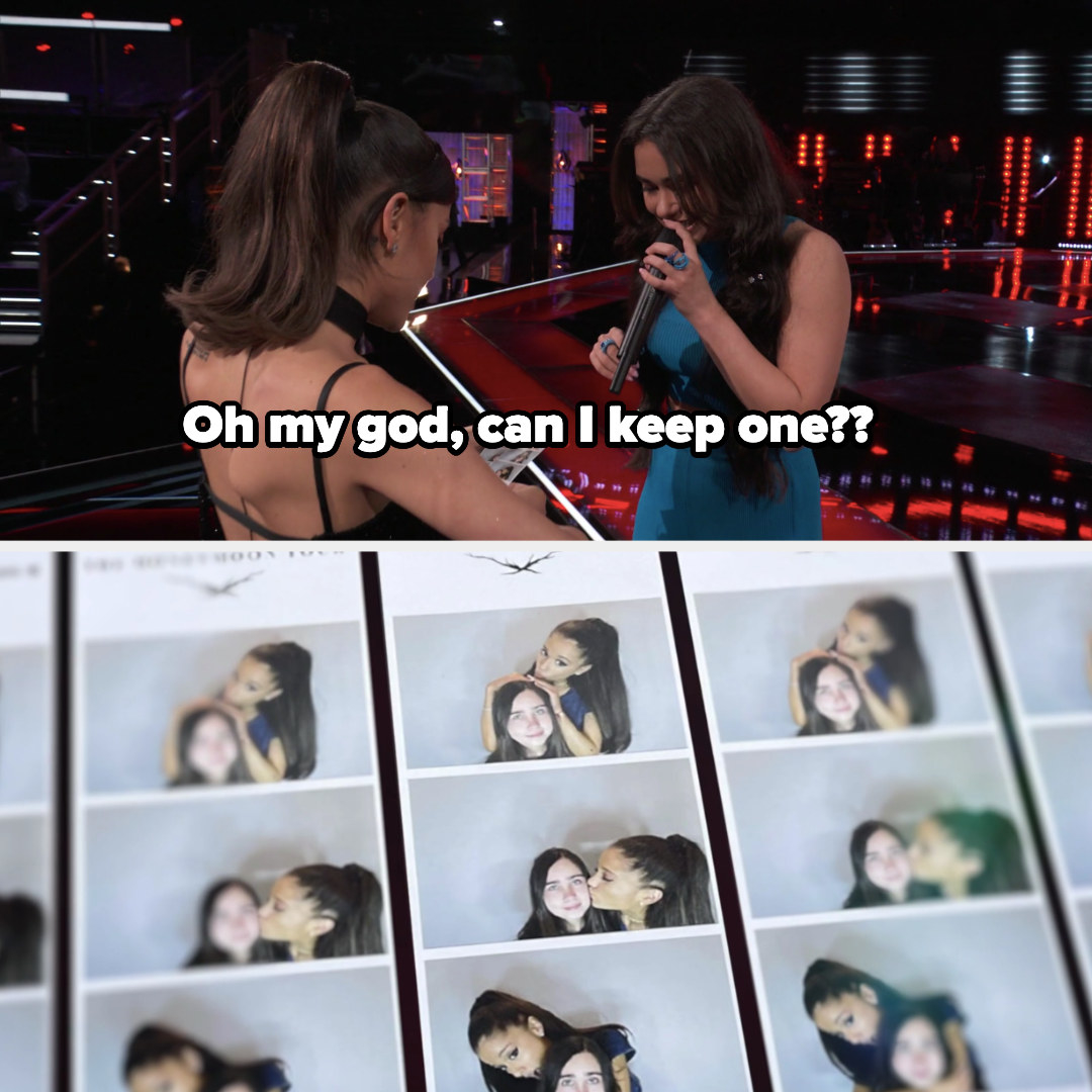 """Ariana asks, """"Oh my god, can I keep one??"""" as she looks at many small photos of her with the contestant"""
