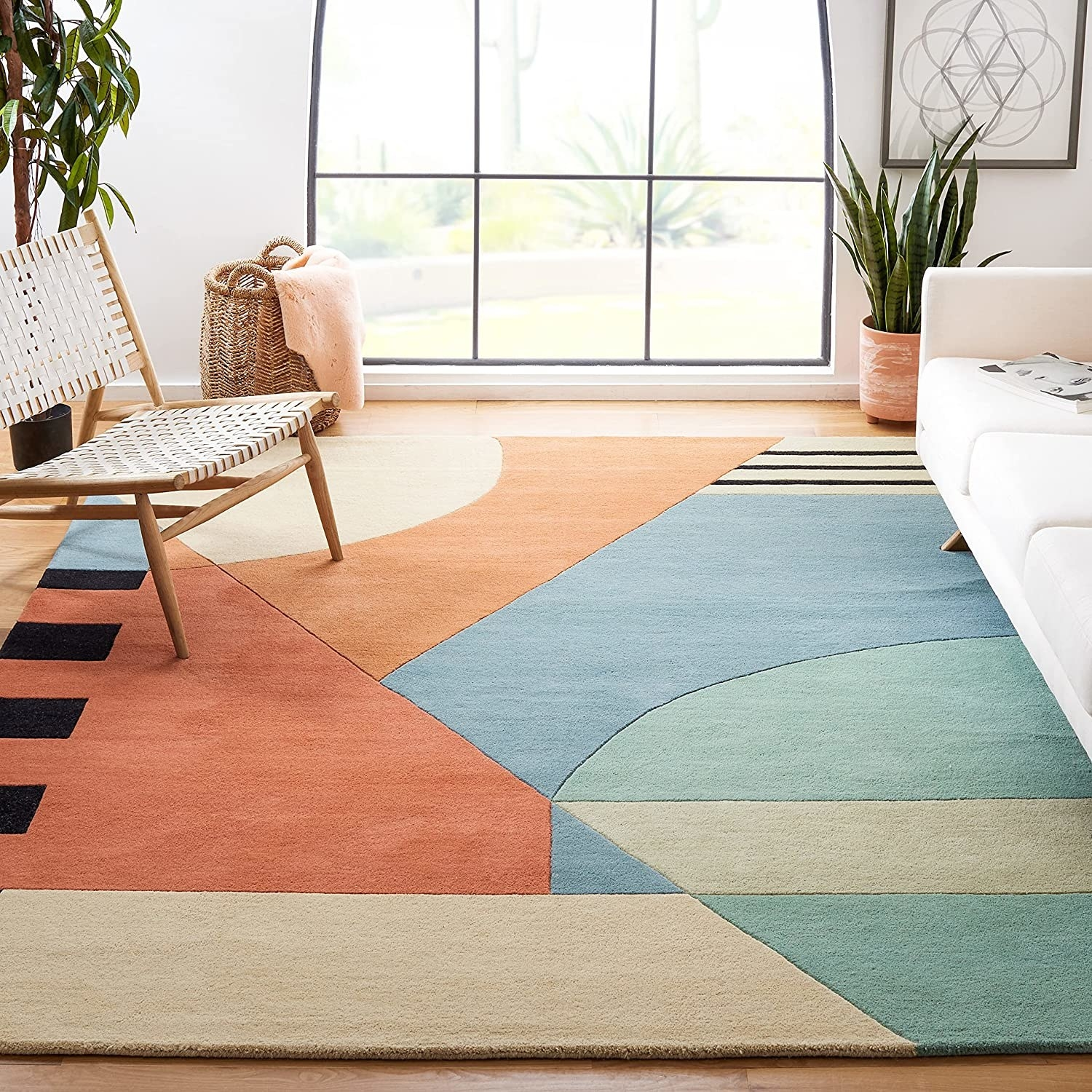 geometric rug in bright colors