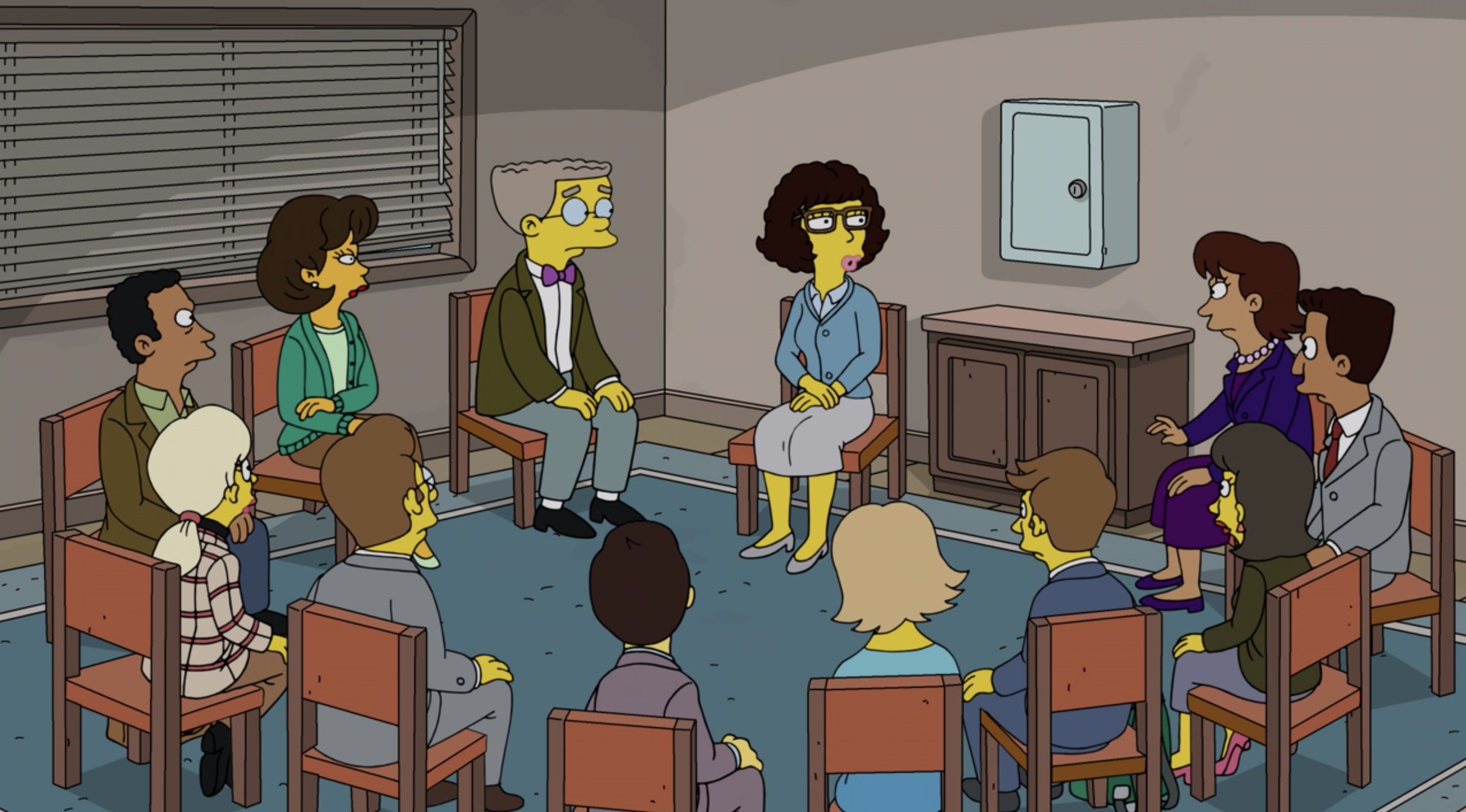 """A group therapy session from """"The Simpsons"""""""