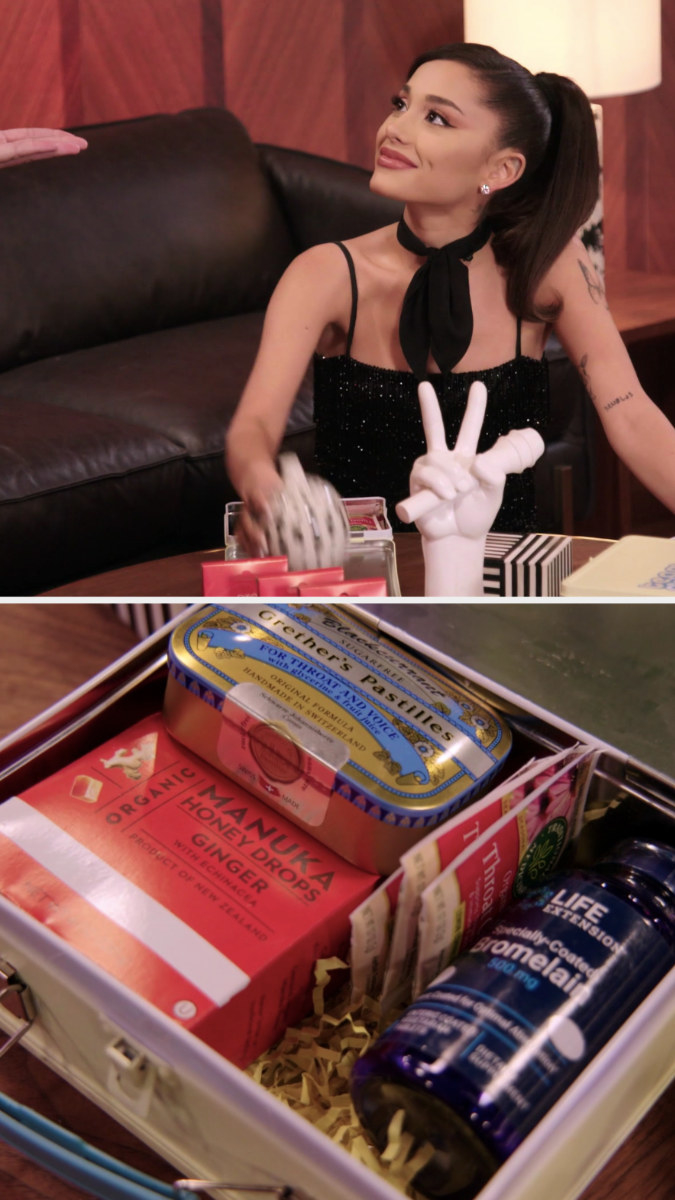 Ari smiling and touching a wellness kit on the table, and a close-up of the contents: ginger honey drops, pastilles, tea bags, and bromelain 500 mg supplements