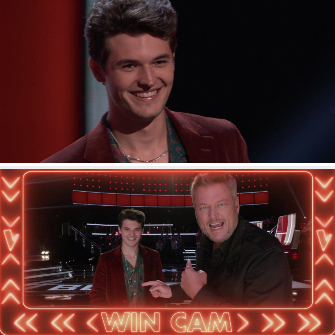 """Peedy smiling and then he appears with Blake in his """"win cam"""""""