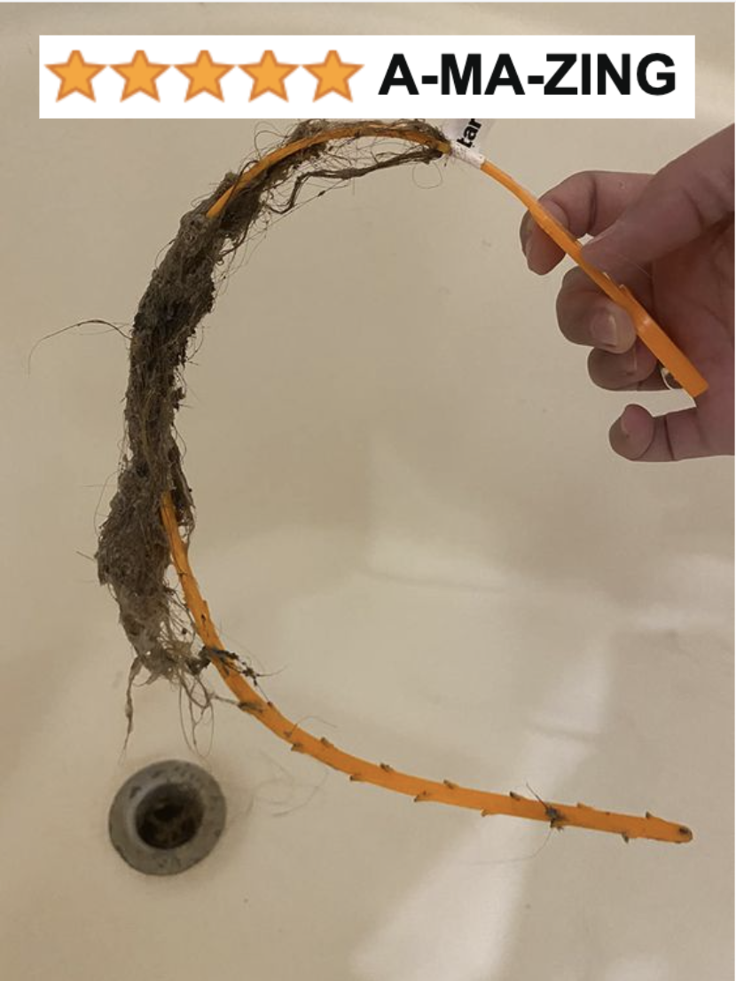 """reviewer's photo of the drain snake covered in hair with five-star caption """"amazing"""""""