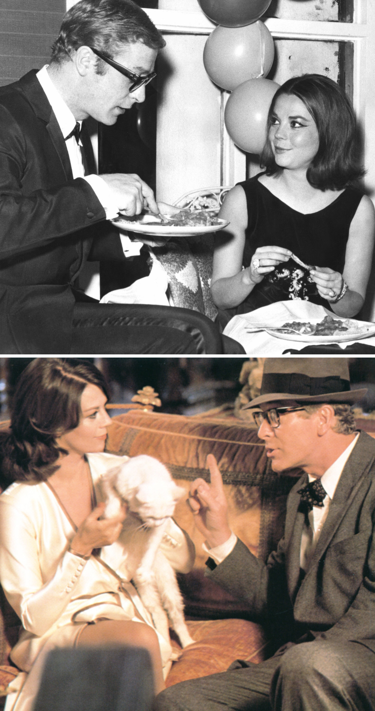 """Wood and Caine eating at an entertainment event in 1966; Wood and Caine in """"Peeper"""" in 1975"""