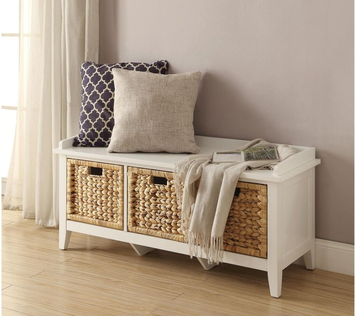 the white storage bench white natural woven jute storage containers