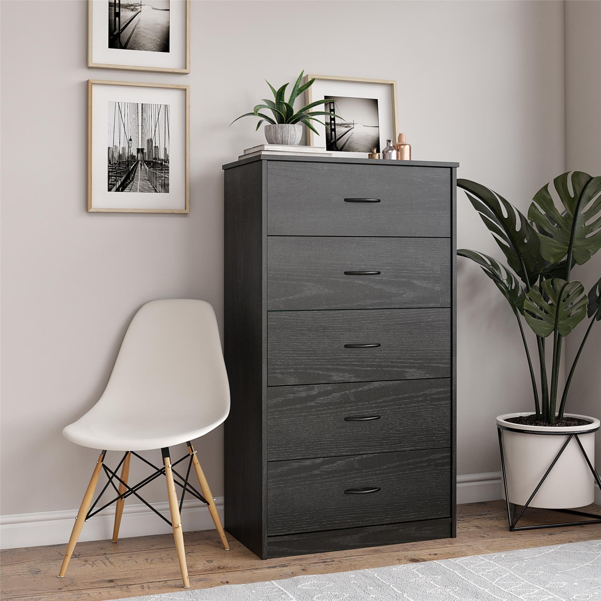 Tall black dresser