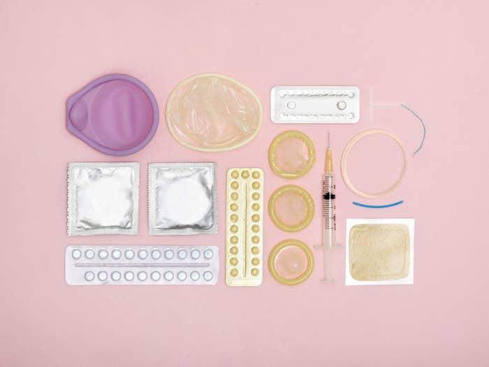 Contraception techniques against a pink background