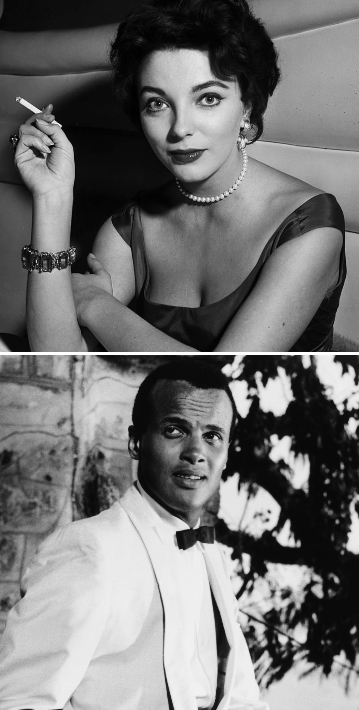 """Collins smoking at a cocktail party in 1957; Belafonte in """"Island in the Sun"""" in 1957"""