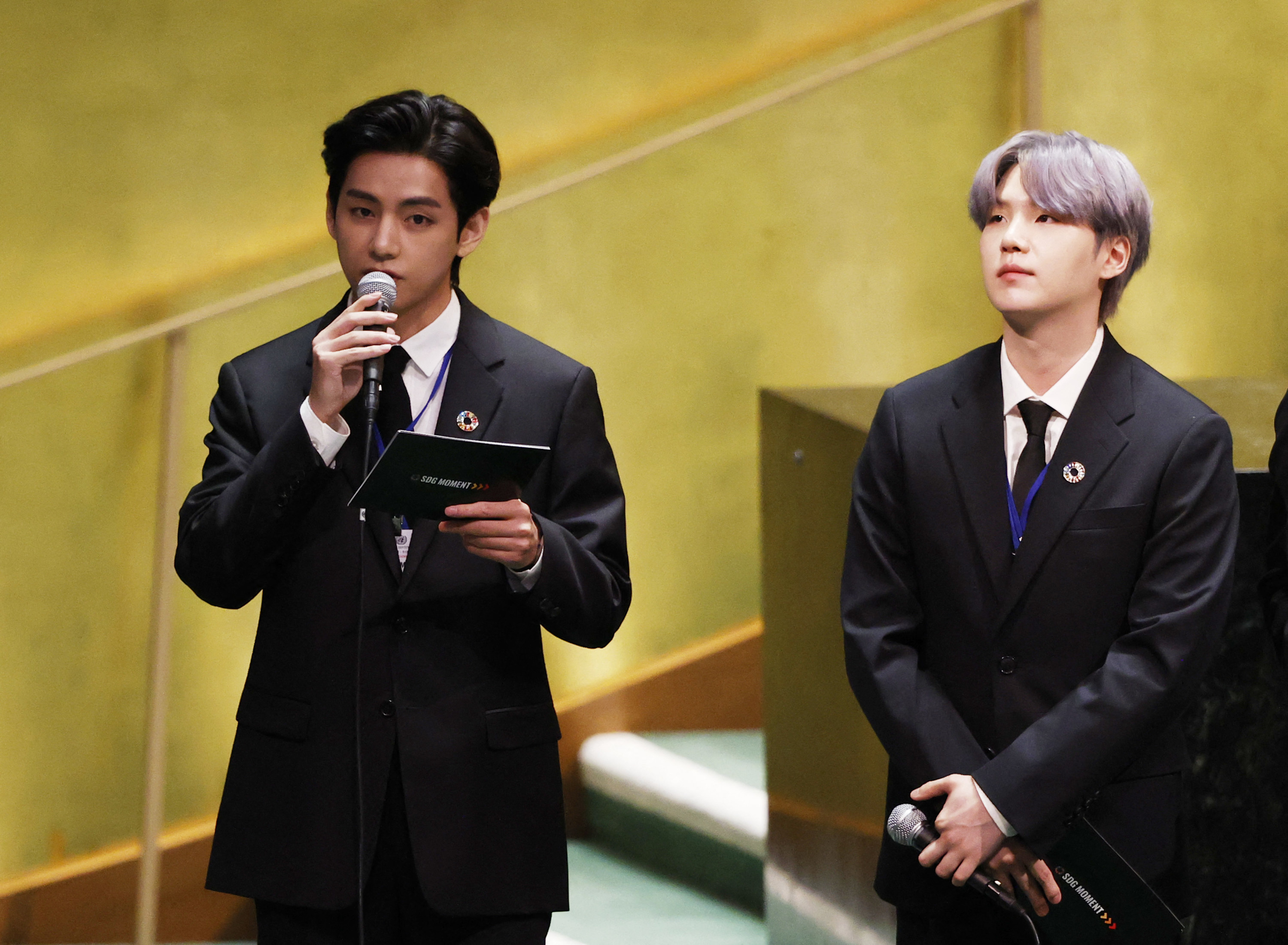 V and Suga of BTS at the United Nations General Assembly