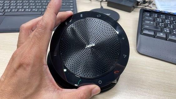 the speaker on a desk
