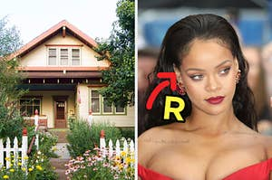 On the left, a charming house surrounded by tall plants, flowers, and a picket fence, and on the right, Rihanna with an arrow pointing to her and R typed next to her face
