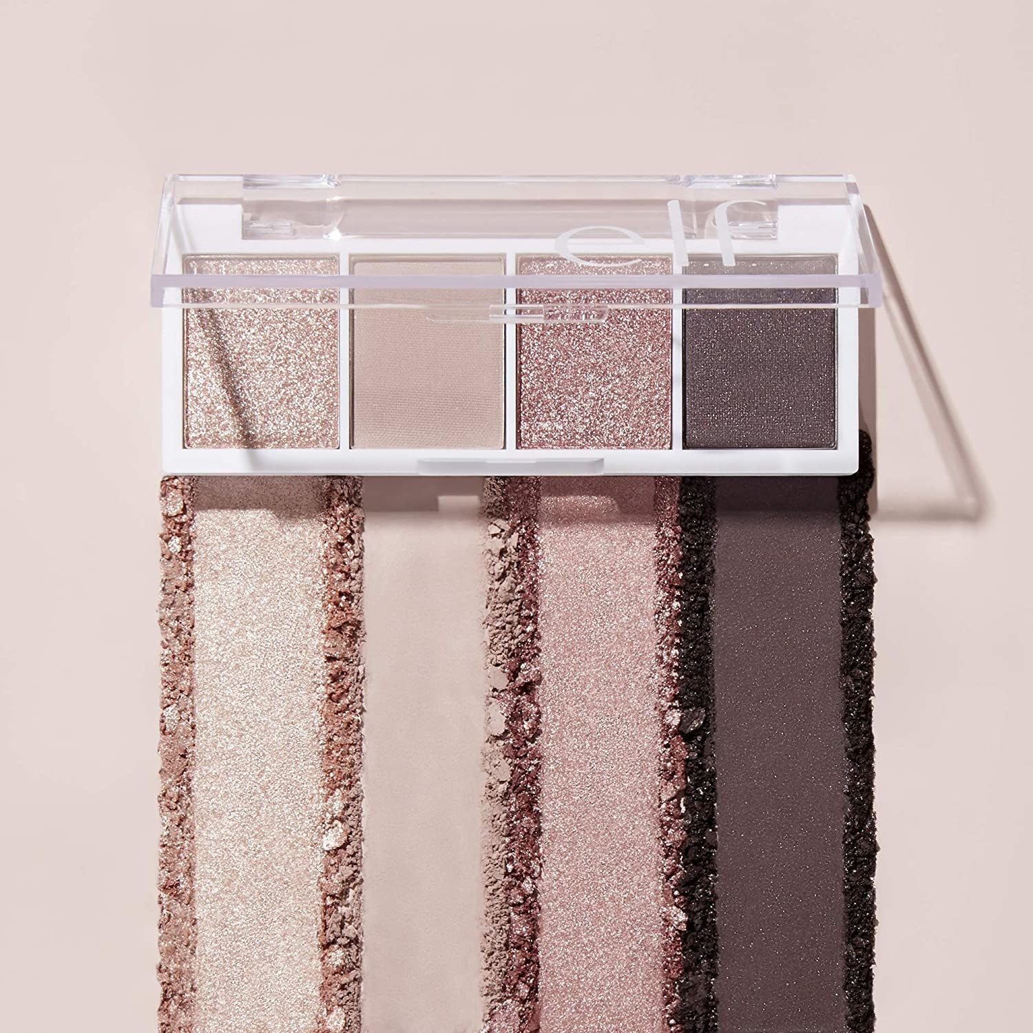 light shimmery pink makeup palette with four eyeshadows