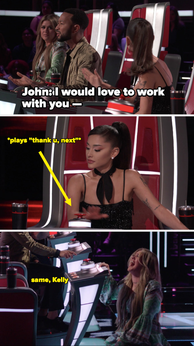 """John says, """"I would love to work with you—"""" and Ariana interrupts by playing, """"Thank u, next"""""""