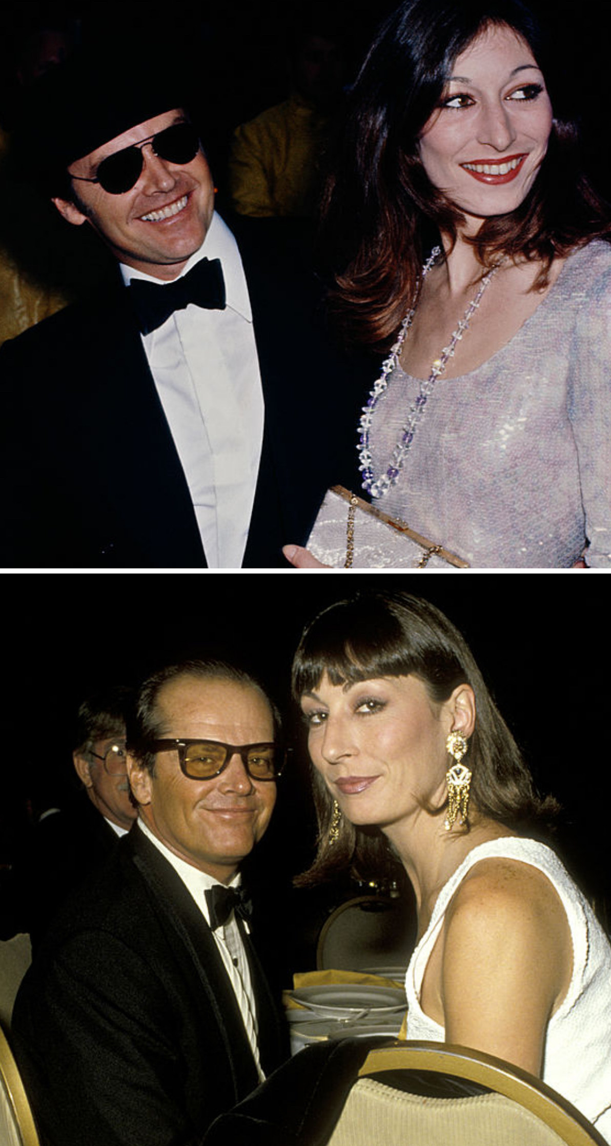Nicholson and Huston at an event in LA in 1975; Nicholson and Huston at theDirectors Guild of America Awards in 1986