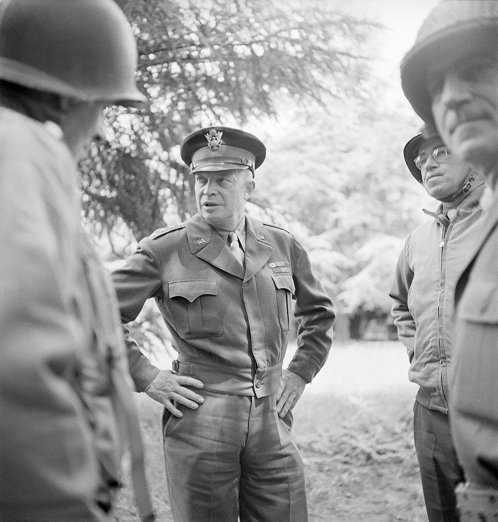Eisenhower talks to troops during the war