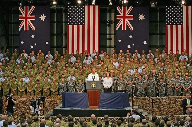 Obama addressing the troops