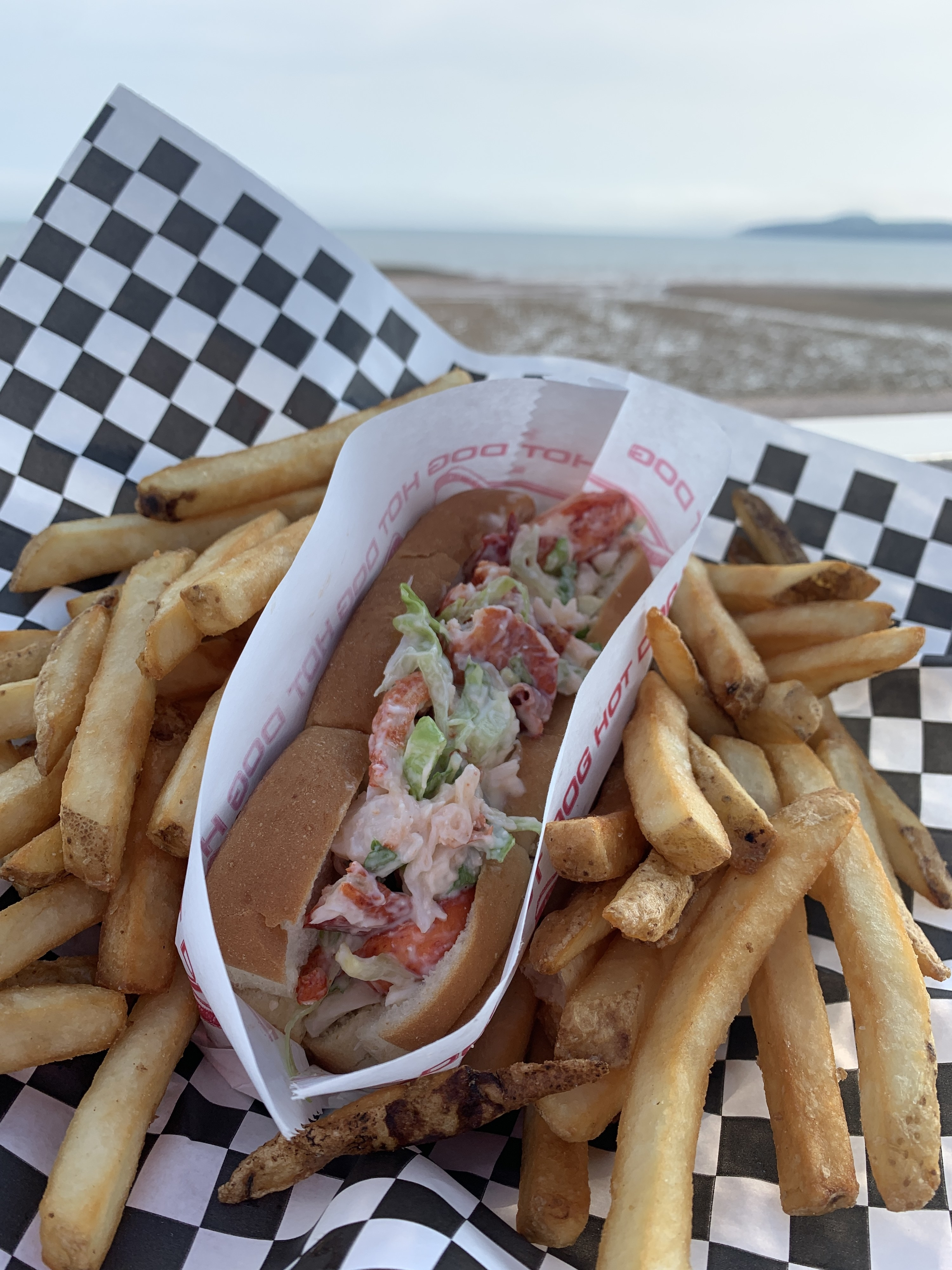 A photo of a lobster roll and fries