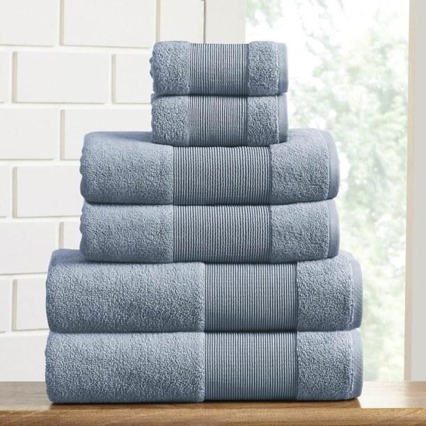Full set of six blue towels.