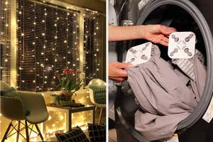 on left, hanging string light curtain above living room set. on right, hands hold white anti-wad pads while taking sheets out of dryer