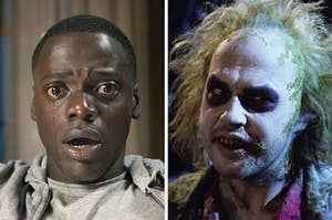 On the left, Daniel Kaluuya crying as Chris in Get Out, and on the right, Michael Keaton snarling as Beetlejuice
