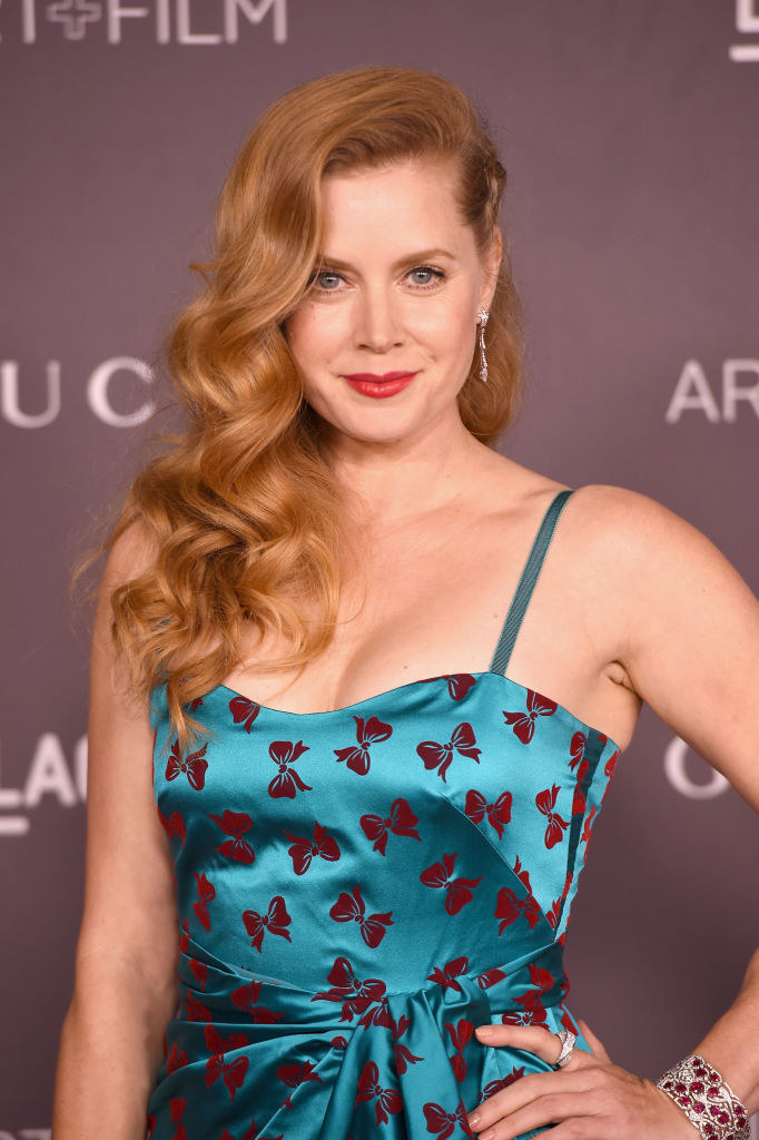 Amy Adams attends the 2017 LACMA Art + Film Gala Honoring Mark Bradford And George Lucas in a bow-printed drss