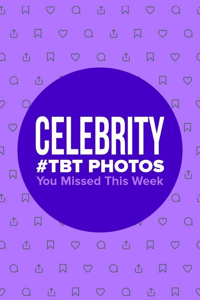 Illustrated graphic that says Celebrity #TBT Photos You Missed This Week