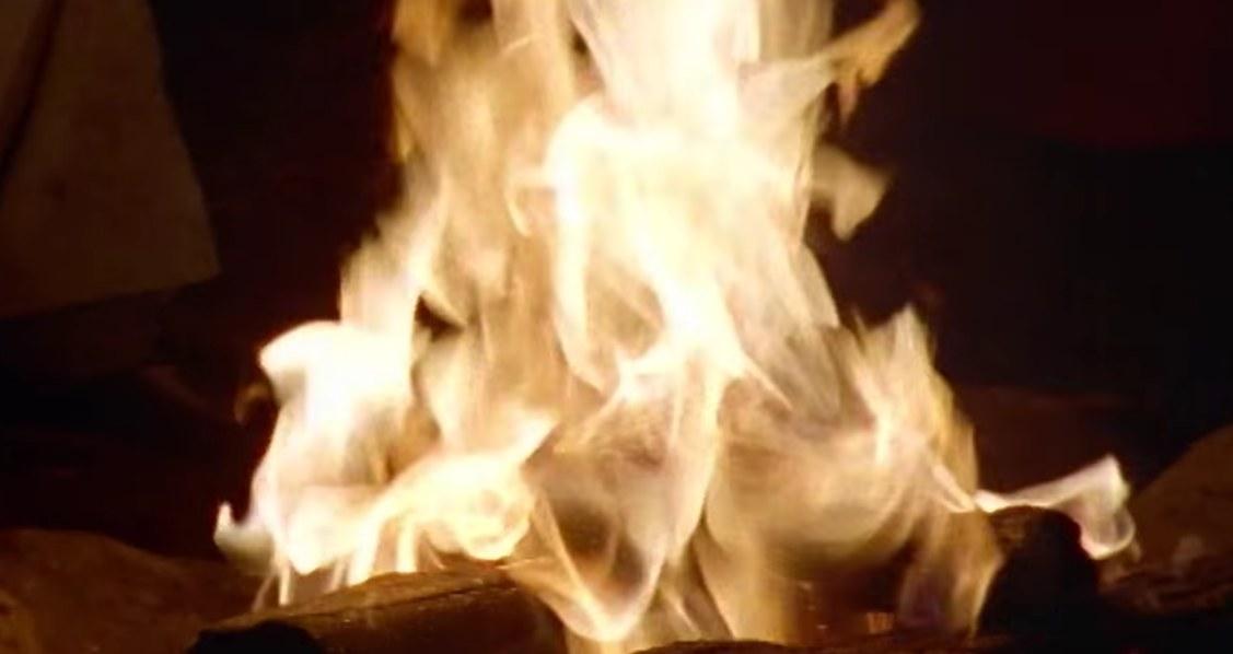 A close-up of a campfire