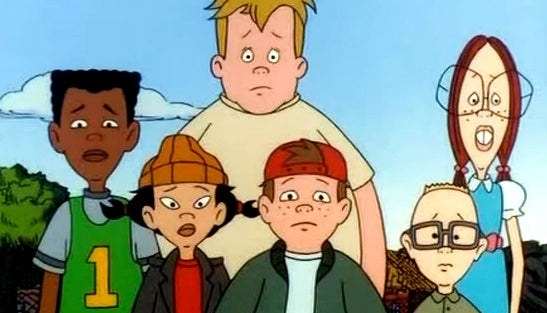 The Recess characters look straight ahead with worried expressions