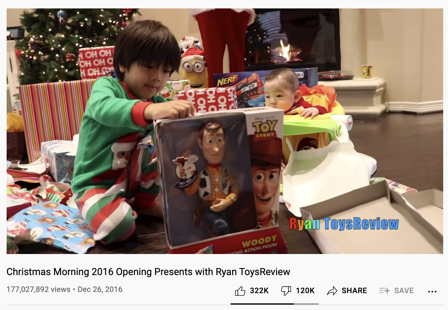 A kid opening up his presents on youtube