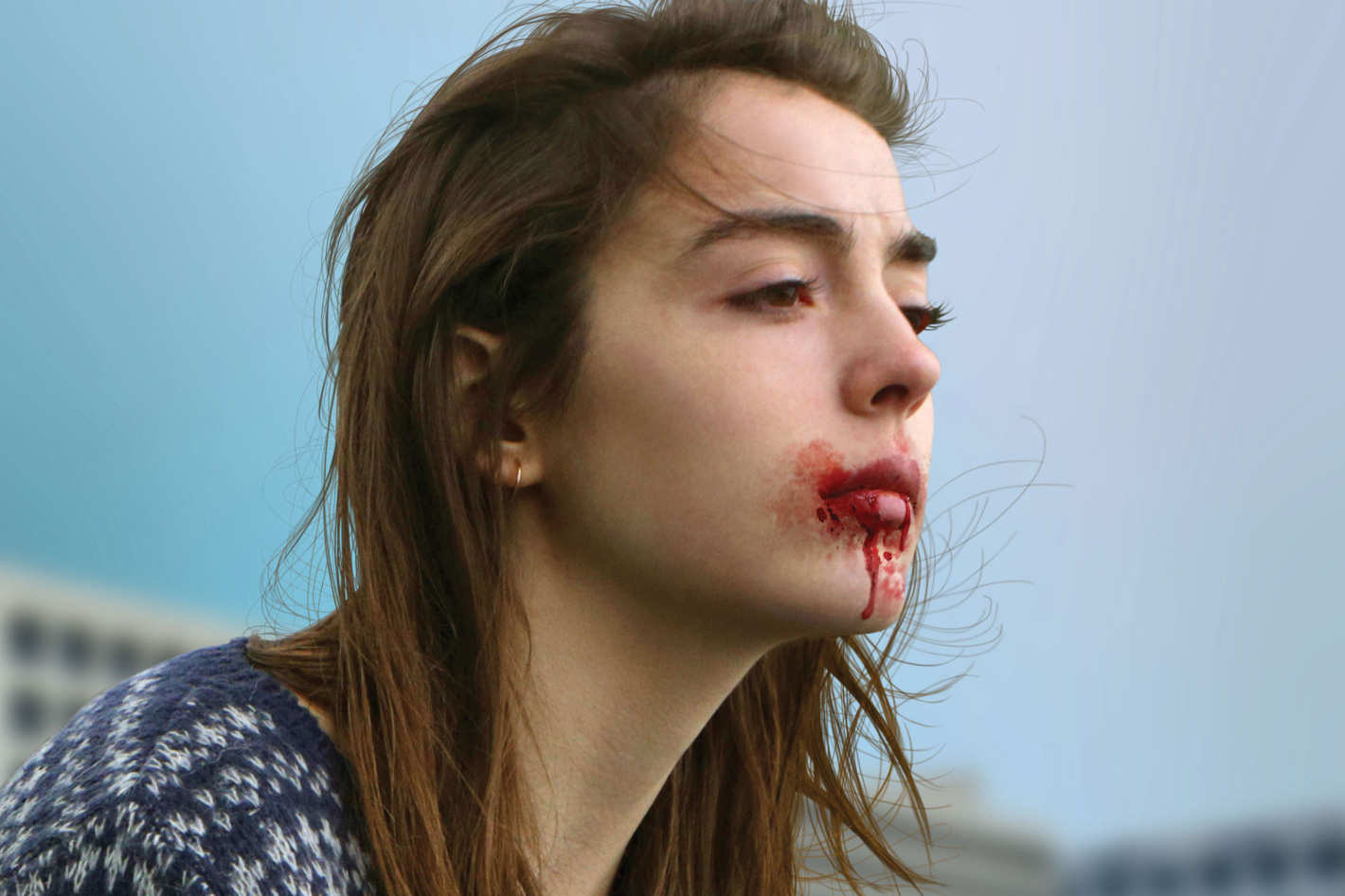 """Woman from """"Raw"""" with blood in her mouth"""