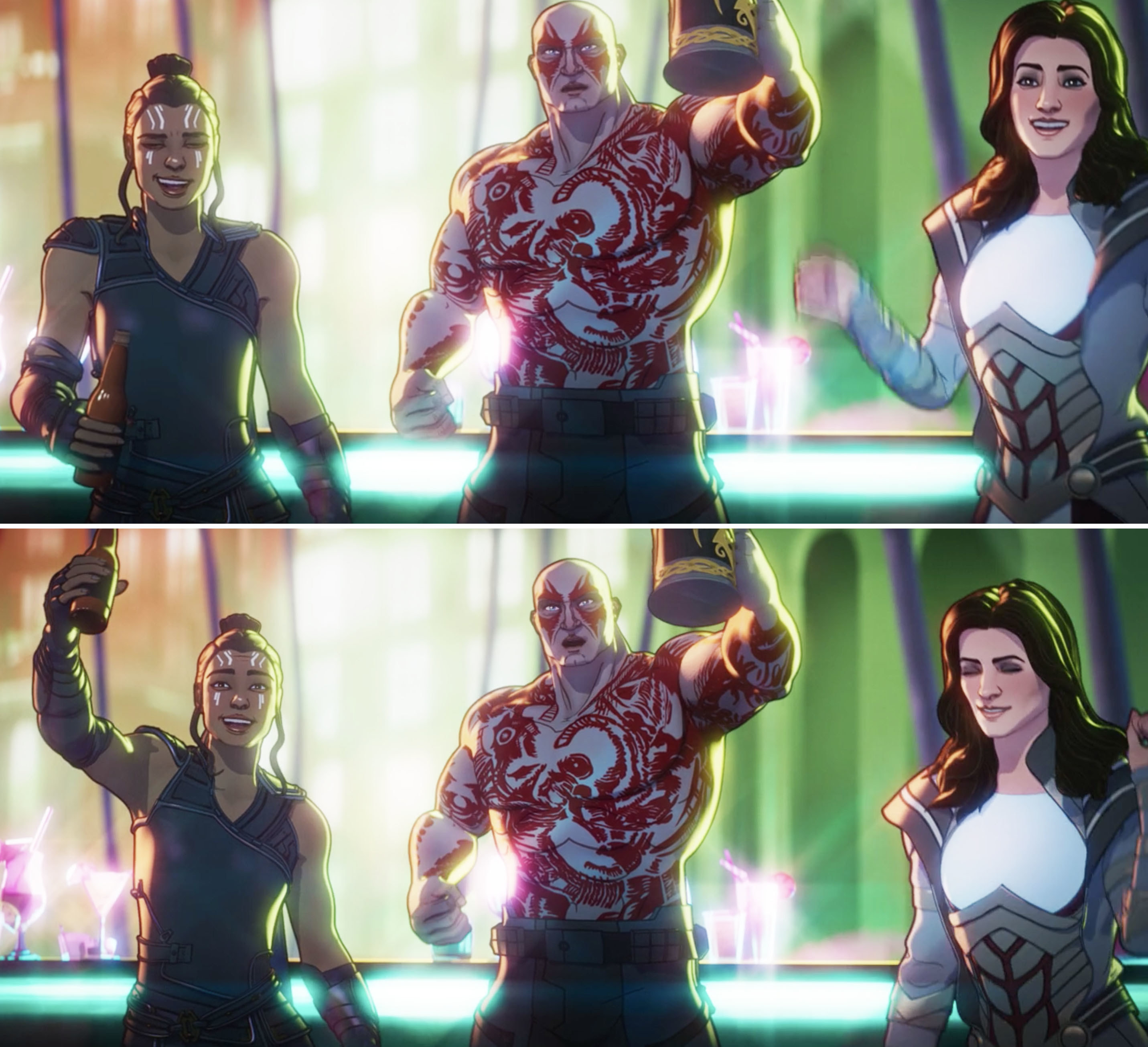 Animated Valkyrie, Drax, and Sif