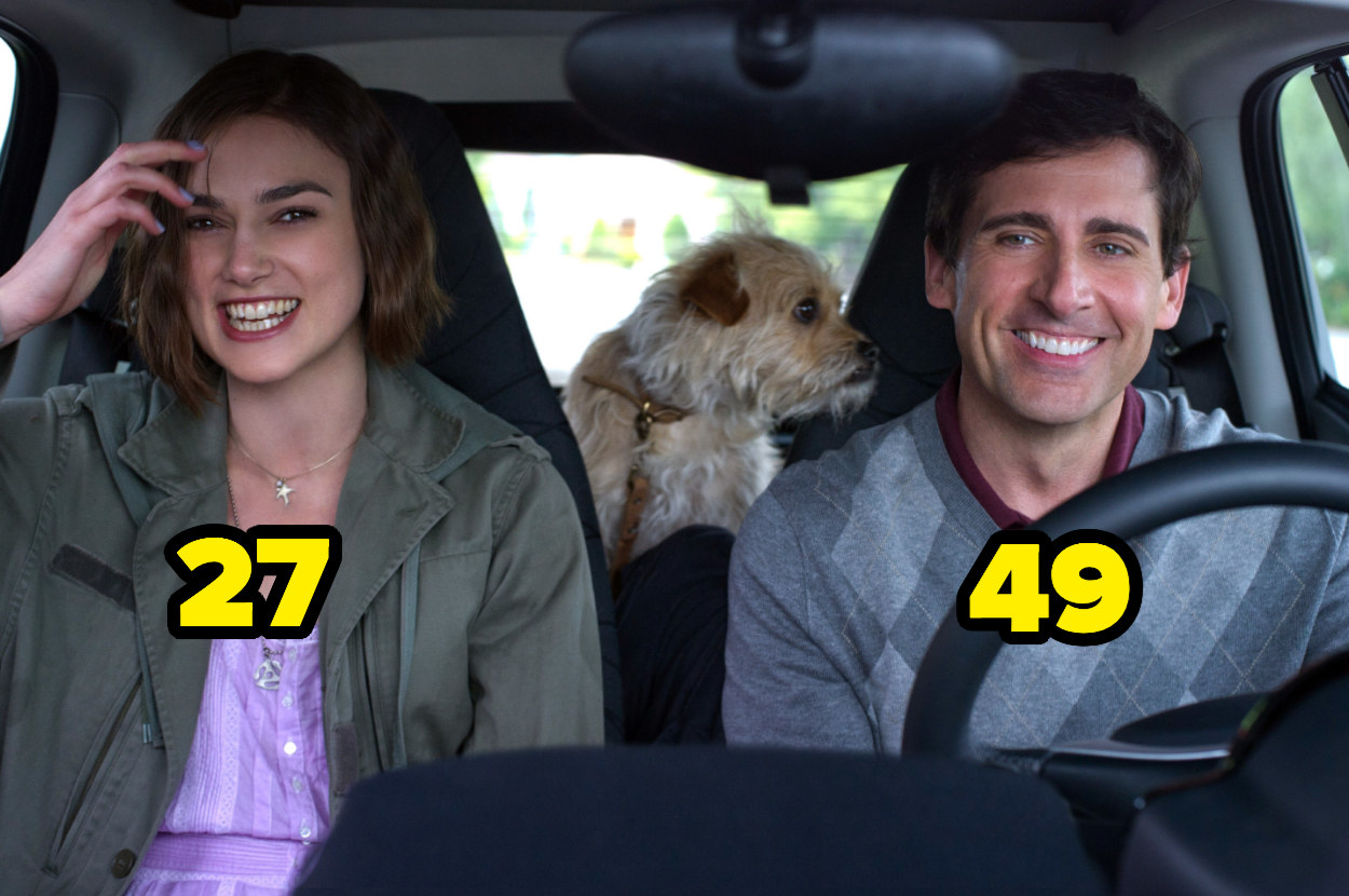 27-year-old Keira Knightley in a car with 49-year-old Steve Carell