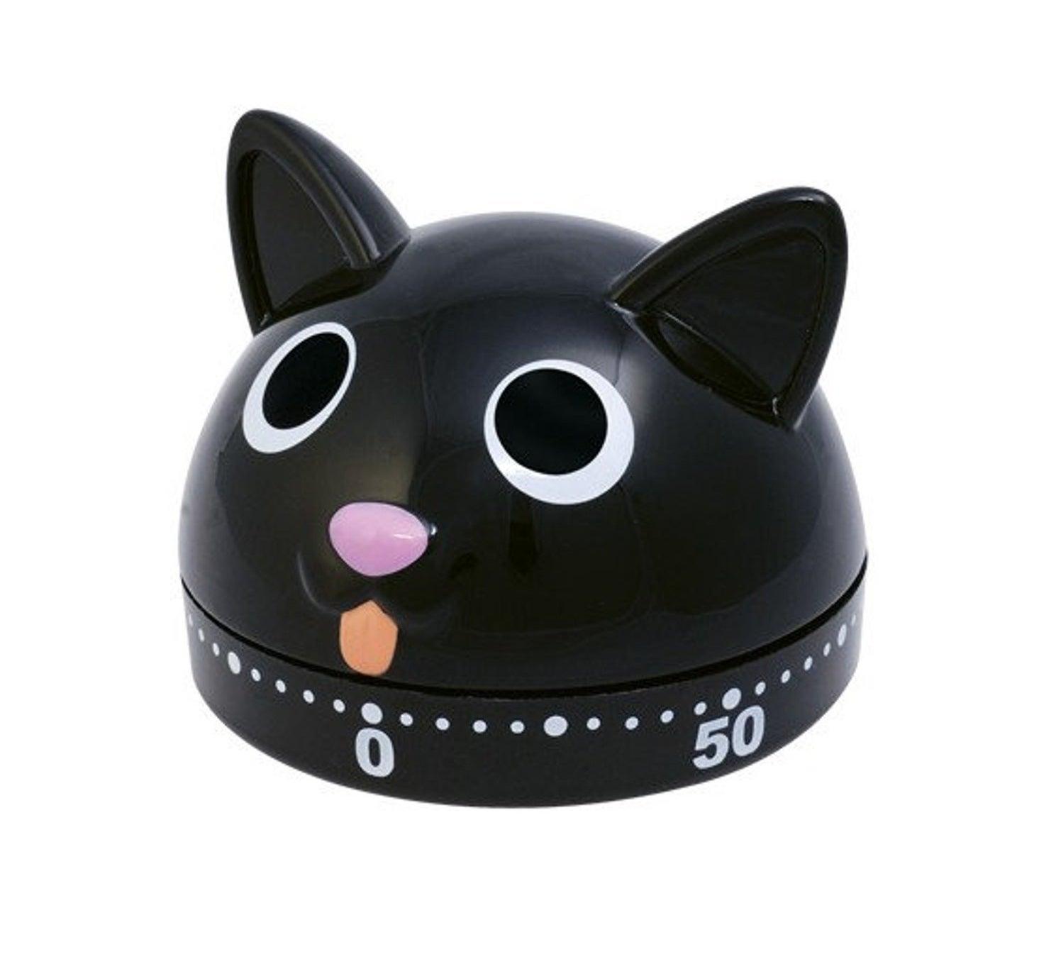 a black cat shaped timer