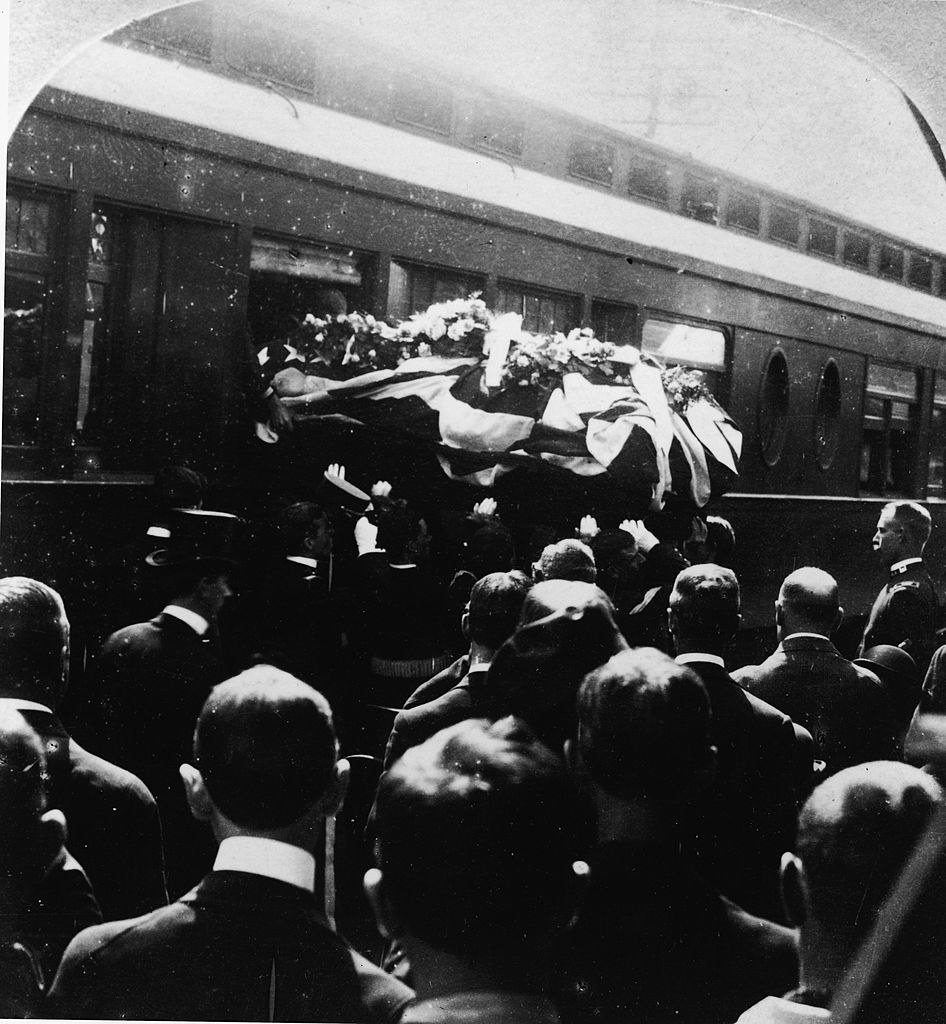 McKinley's casket being carried to a train