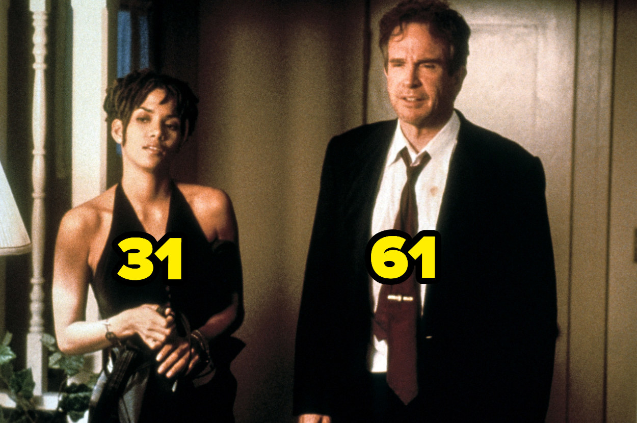 Halle Berry at 31 standing next to Warren Beatty at 61