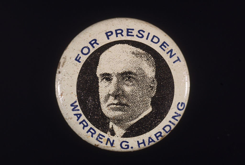 a Harding campaign button