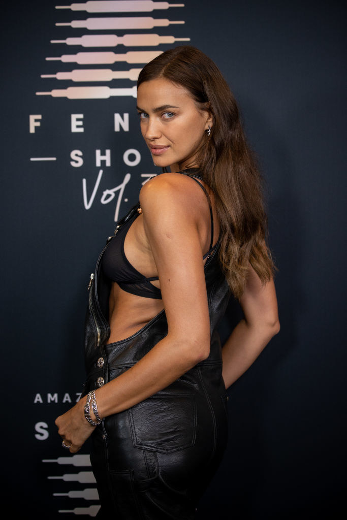 Irina in leather overalls and matching bra