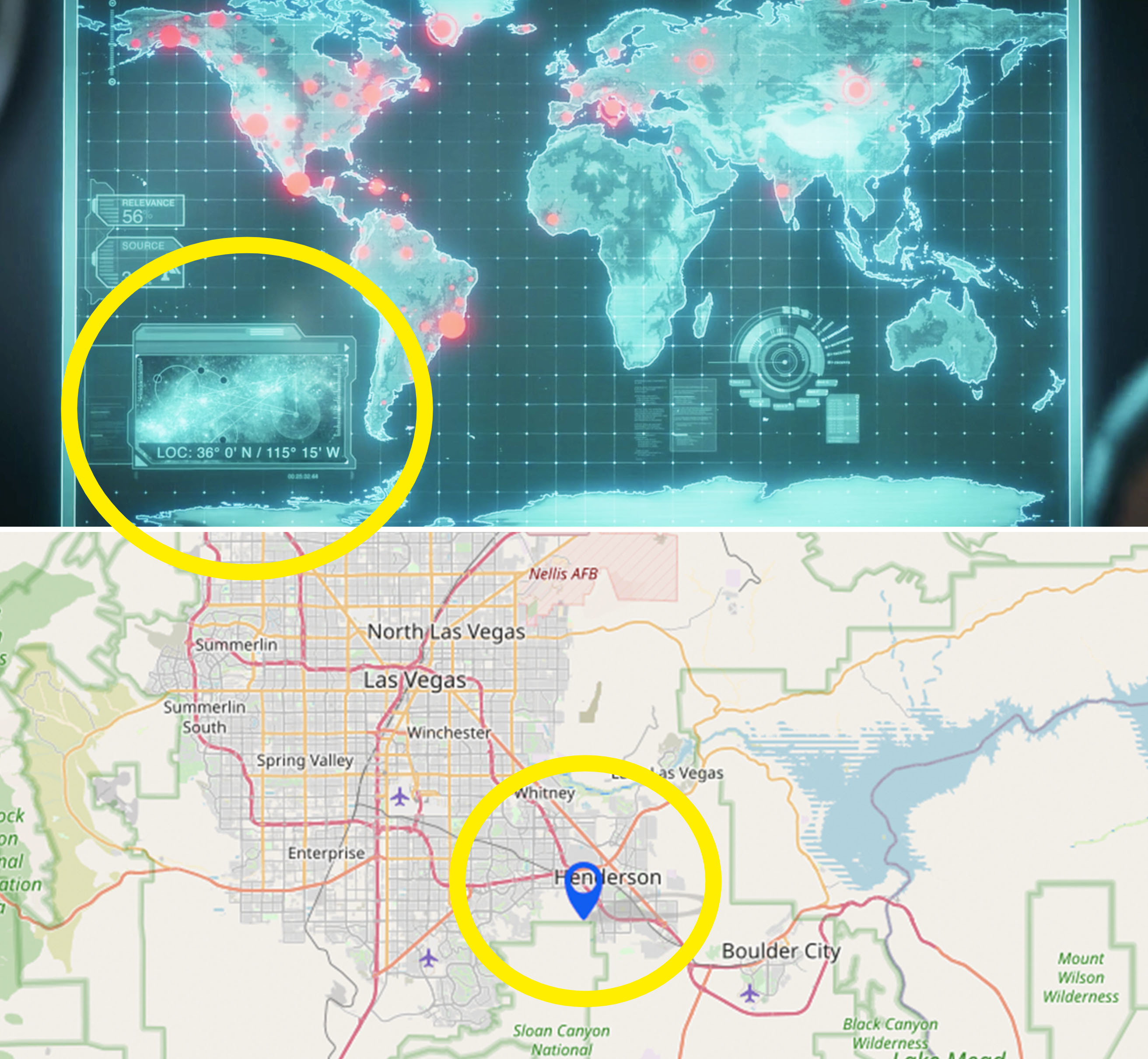 A close-up of Coulson's coordinates vs a map