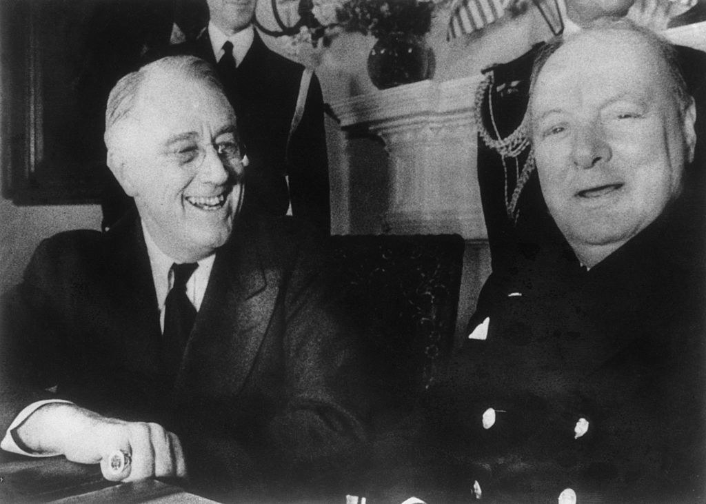 Churchill and FDR laughing at the White House