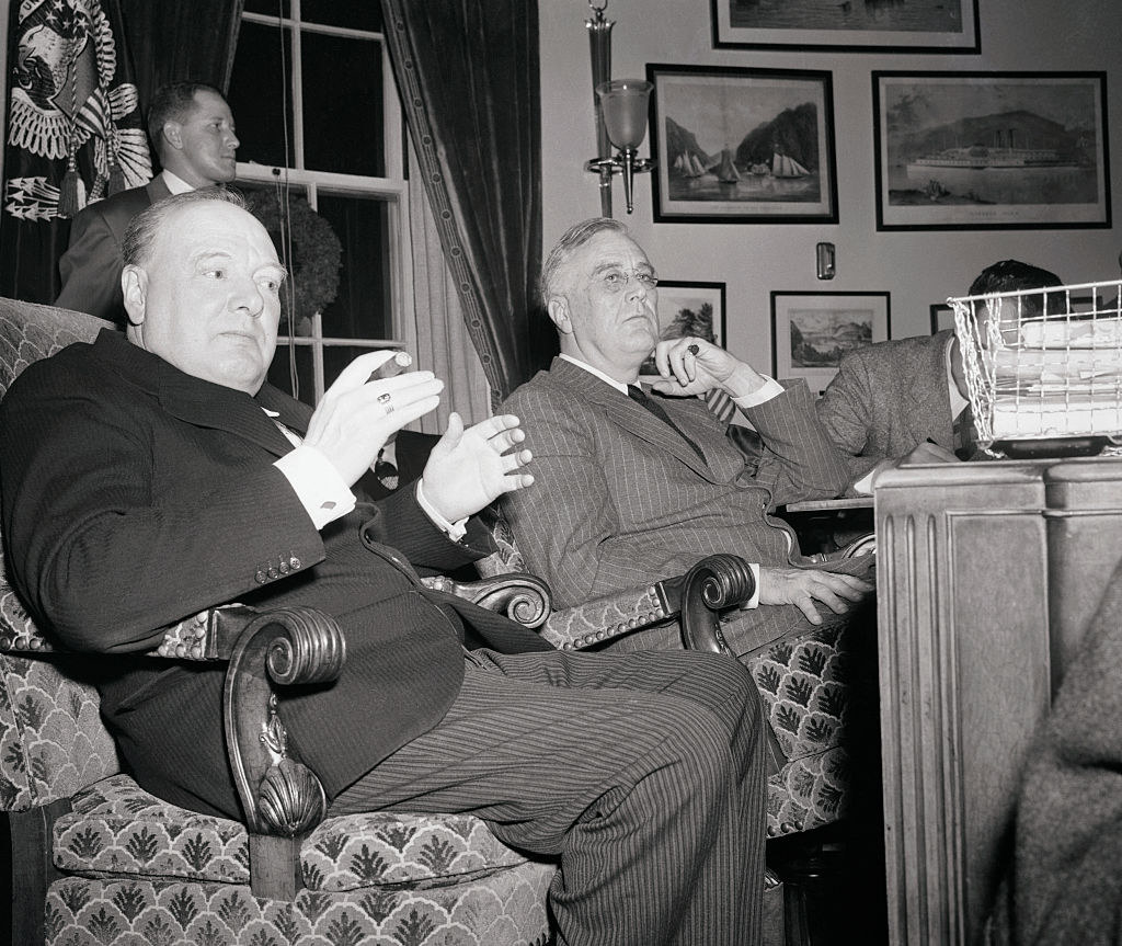 Churchill and FDR at a press conference in the white house