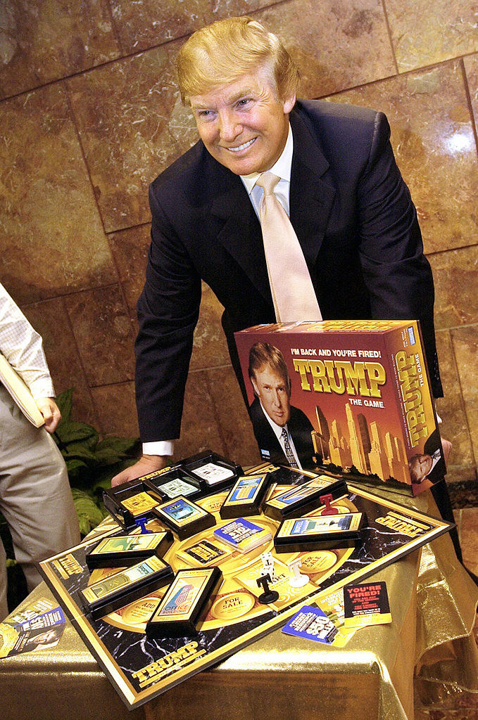 Trump posing with his board game