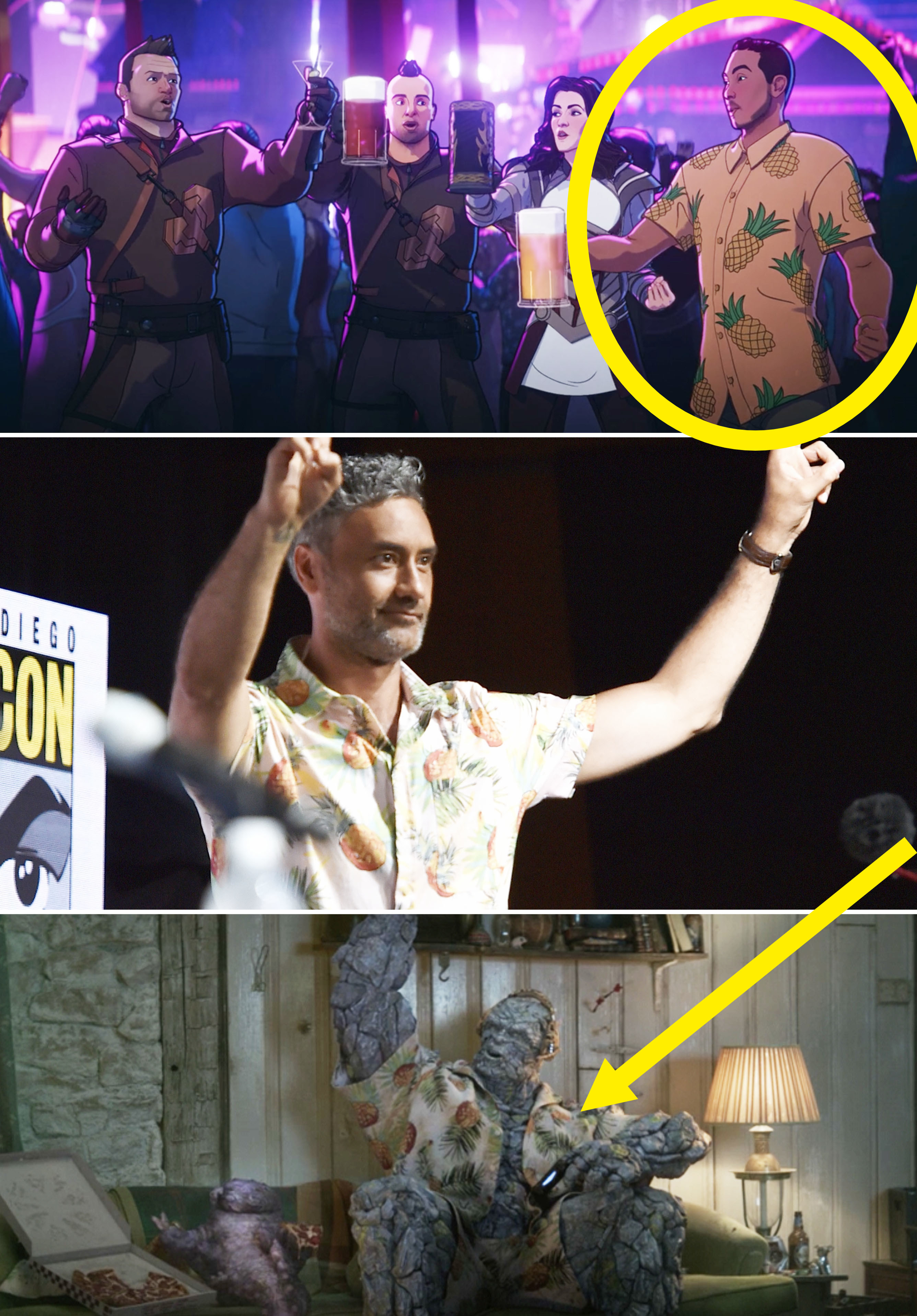 A guy at Thor's party in a pineapple shirt, Taika Waititi wearing one, vs Korg wearing one