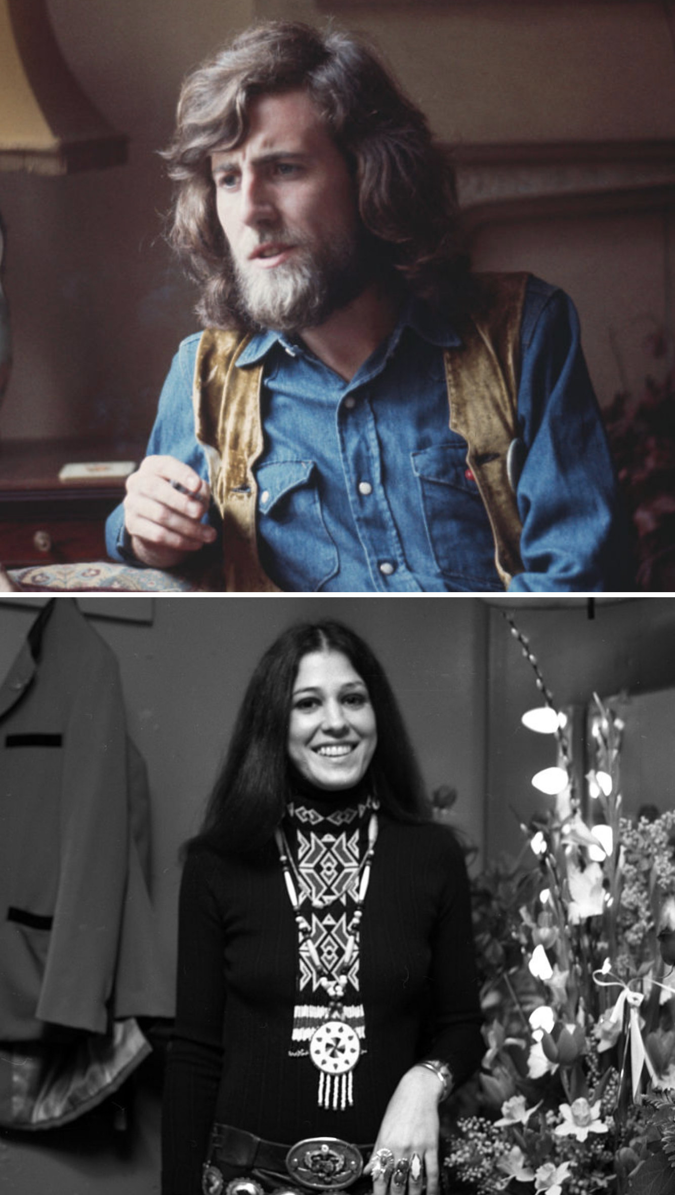 Nash posing for a portrait in 1970; Coolidge backstage at a concert in 1972