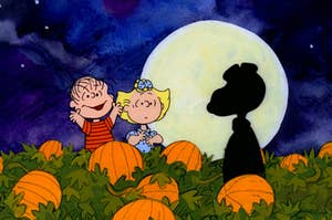 linus and lucy in the pumpkin patch