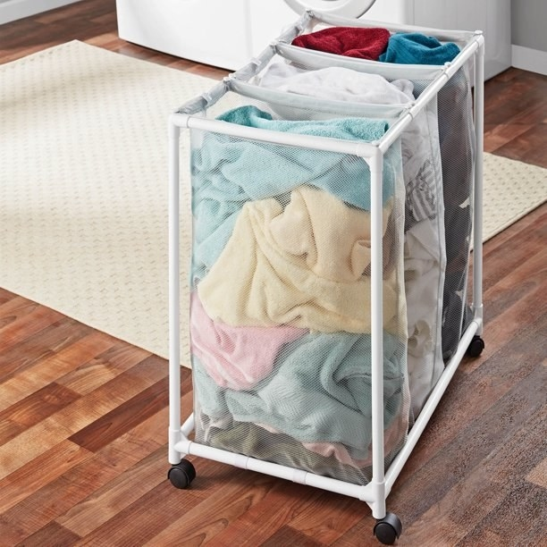 An image of a three-bag laundry cart