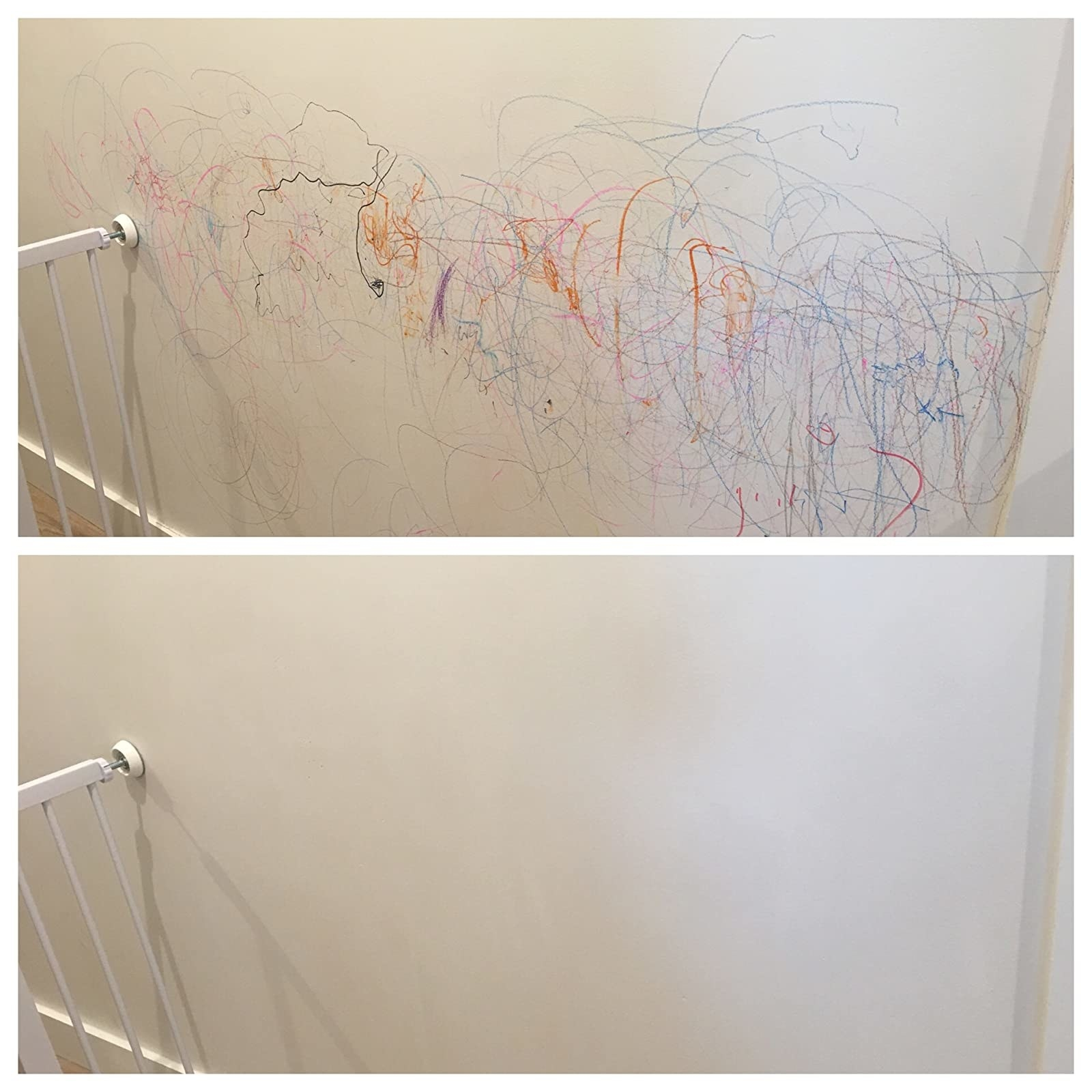 a wall with crayon stains, and after being cleaned