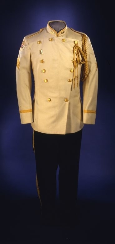 The white and gold braided uniformuniform